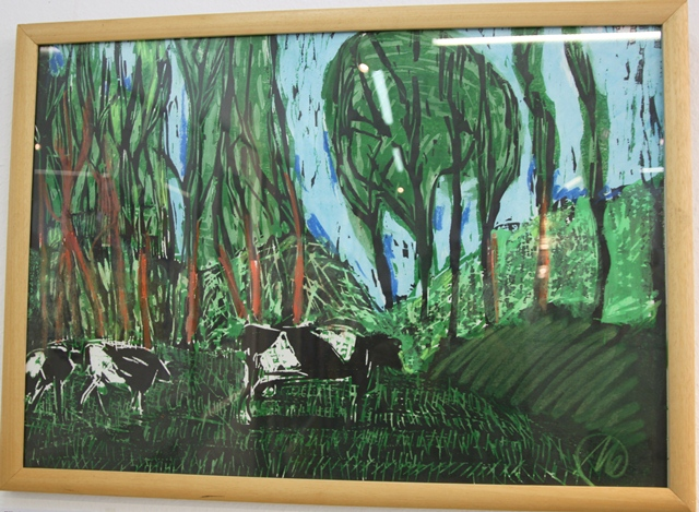 Kühe im Wald, übermalter Siebdruck, Ottmar Hörl