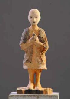 Carlo Leopold von Broschewitz Wenn ich gestorben bin, möchte ich ein Vogel werden Linde:Acryl, 12,5 x 7 x 32,5, 2015